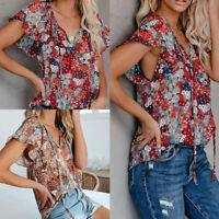 Women V Neck Short Sleeve Summer T Shirt Floral Print Blouse Loose Casual Tops