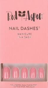 RED ASPEN Reusable Nail Dashes THINK PINK Medium Round Shiny 24 Nails