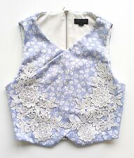 Topshop Womens Crop Top Size XS UK 6 Blue Floral Print Lace Sleeveless