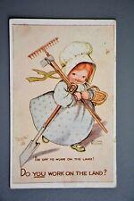 R&L Postcard: Tuck Oilette 8498 Working on the Land, Girl Farmer Gardener