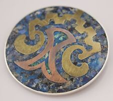 Vintage Sterling Silver Brooch Pin Mixed Metals Mexican Jewellery 925 Blue