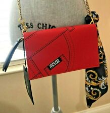 Women Versace Jeans Couture Stitch Print Scarf Embellished Red Shoulder Bag