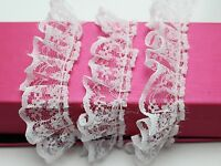 5 Meters White Ruffle Unilateral Lace Trim Ribbon 23mm Sewing Wedding Craft DIY