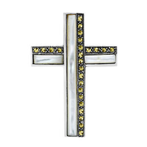 Geometric Cross White Shell and Marcasite Sterling Silver Pendant Charm