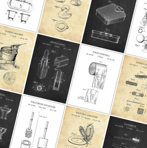 BATHROOM Patent Poster Prints - Vintage Home Decor - A4 A3 A2 - Wall Art Posters