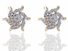 Pave 0.81 Cts Round Brilliant Cut Diamonds Stud Earrings In Fine 18K Yellow Gold