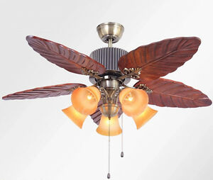 Vintage 5  Lights Real wood Forest Style 48 inch High-grade Lotus Ceiling