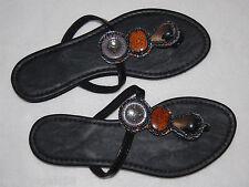 WOMENS SANDALS Flip Flops BLACK Jeweled 6 ENVISION STUDIO