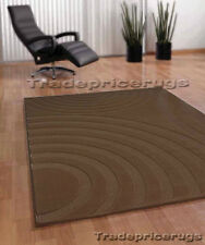New Soft Thick Mid Dark Brown Next Modern Swirl Rug 120x170 Free P Clearance
