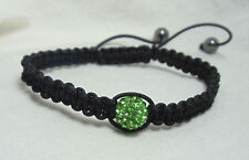 Macrame Shamballa Green Crystal Disco Bead Bracelet Adjustable
