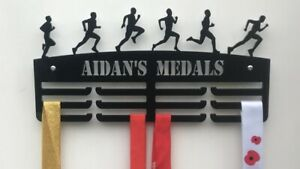 MALE RUNNER Thick 5mm Acrylic Personalised 3tier Medal Hanger / holder