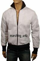 New White Men Lambskin Motorcycle Bomber Genuine Leather Jacket Cafe Racer Vest