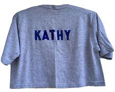 Vintage Tah Heel Sports Heather Gray Crop Top T-Shirt Kathy Half Shirt 80s L Usa