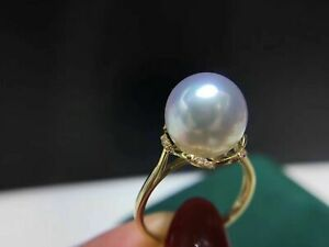 AAA 11-12 mm round natural south sea white pearl ring 18 K yellow gold