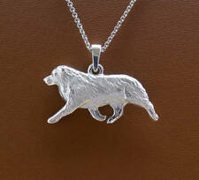 Large Sterling Silver Australian Shepherd Moving Study Pendant