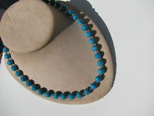 VINTAGE VIVID VIBRANT TURQUOISE COLOR GEMSTONE BEADED NECKLACE OLDER SCREW CLASP