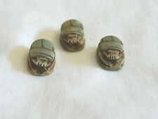 """3 Small Ceramic Egyptian Scarab Antique Looking Beetle Lucky Charm Green 0.5"""""""