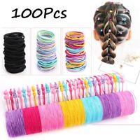 100x Hair Ties Hairband Ponytail Holder Elastic Rope Girl Kid Head-Band Bean