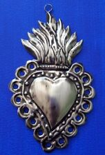 Sacred heart punched tin Mexican hand made Folk Art