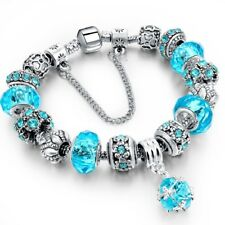 Charm Bracelets with Charms Silver Bracelet For Women Ladies Beads Summer Gift
