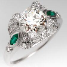 2.90ct Vintage Art Deco White Diamond Engagement Bridal Ring 14K White Gold Over