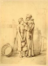 The Friar and the Maiden, Romantic Genre Study ca. 1870. Listed Artist, Monogram