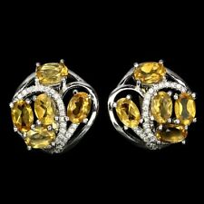 Ohrringe Citrin & CZ 925 Silber 585 weißvergoldet