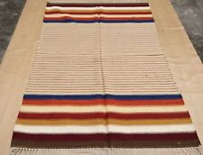 4'x6' Durie Kilim Hand Woven Pure Wool Flat Weave Striped Oriental Rug