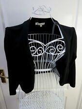 New HOBBS Black Bolero Shrug Cardigan Size L 14 16 Knit Three Quarter Sleeve