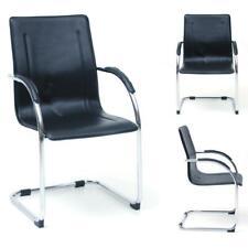 Poltrona ufficio sedia attesa slitta acciaio cromato eco pelle mod. Stand nero
