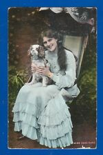 Rare Postcard Miss Zena Dare with a dog-The National Series