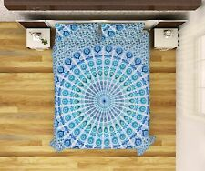Multi Blue Peacock Style Bed Sheet Cover Decor Tapestry Bedspread Queen Size