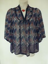 George floaty chiffon effect navy, white, red paisley print & lace trim size 18