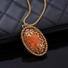 Lovely Amber Pendant Vintage Classic Necklace Chain Sweater Long
