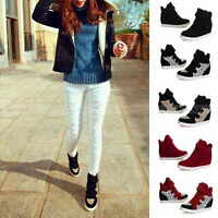 Fashion Womens Canvas Hidden Wedge Heels High Top Ankle Boots Sneakers Shoes