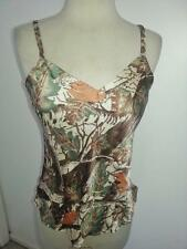 Cabela's~Misses SZM~Browns & Tans Tree Print~100% Silk Cami~Adjustible Straps
