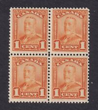 Canada Stamps #149 1c KGV Scroll Bk of 4 F/VFmnh