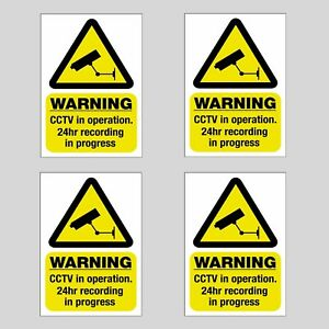 4 Pack CCTV in Operation Static Cling Stickers 100mm x 65mm *For Inside Windows*