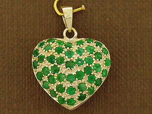 P043 - Lovely Genuine 9ct Solid Gold NATURAL Emerald Pave LOVE Heart Pendant