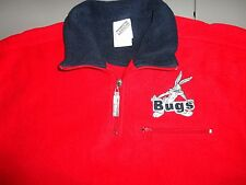 Red BUGS BUNNY Warner Bros Studios Fleece Pullover 1/4 zip embroidered Jacket S