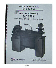 """Rockwell 11""""  Metal Lathe Instruct/Parts Manual Early sn:138-9100 & below_ *1513"""