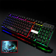 7d7069b18d0 Colorful Crack LED Illuminated Backlit USB Wired PC Rainbow Gaming Keyboard  US