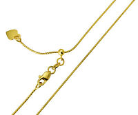 "14K Real Yellow Gold 0.7mm Snake Adjustable Chain Necklace 20"" Inches for Women"