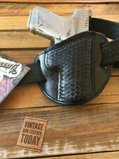 El Paso Saddlery Basketweave Leather Suede Lined Holster for GLOCK 19 23 32