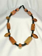 Agate Heishi Fetish Caterpillar Native American Necklace Rare