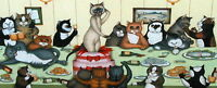 Linda Jane Smith THE STAG PARTY Kittens Cats Feline, Comedy Humour Cute Art