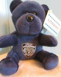 "CITYBEARS POLICE DEPT NYPD US BRAVEST 9-11-01 BLUE TEDDY BEAR 5"" SITTING"