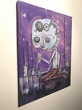 GUS FINK Art ORIGINAL Outsider Painting Canvas lowbrow punk folk NEVER GROW UP