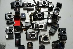 FILM CAMERAS LENSES SLR SPARES OR REPAIR Canon Nikon Minolta Chinon Tamron