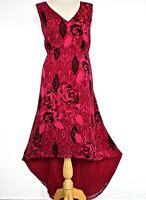 NWT Simply Be Dress Elegant Hi Lo Dark Pink & Black Floral Tie Back Plus Size 26
